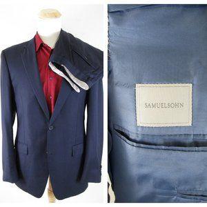 Samuelsohn Navy Super 110's Wool Gable Suit 44L